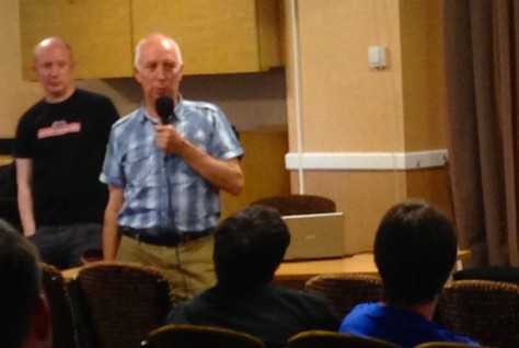 Andrew Hewson talks about the great days of Hewson Consultants while his son Rob looks on at REVIVAL in 2014