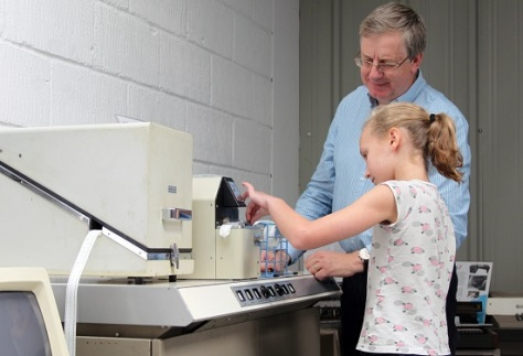 Former chairman of Microsoft Research, Cambridge, Andrew Herbert with a young visitor to the museum (courtesy CCH)
