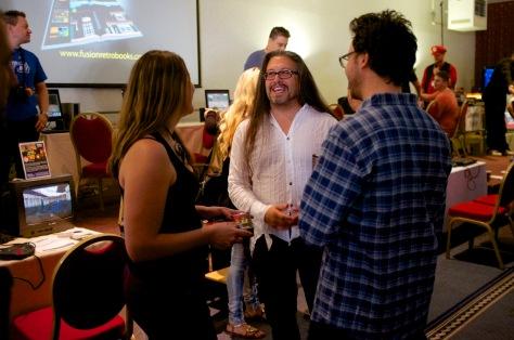 John Romero (centre) meets fans