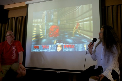 Paul Drury (left) dissects Doom 3D and other games with John Romero