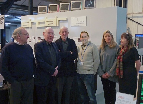 L to R: Christopher Curry, Iain Sinclair, Sir Clive Sinclair, CCH Director – Jason Fitzpatrick, CCH Projects - Jane Phillimore, CCH Communications - Elaine Symonds  at a Sinclair celebration weekend held at CCH earlier this year (courtesy CCH)