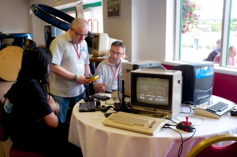 The guys from the Retro Computer Museum at Revival 2014 with their virtual reality machines behind (pic: Stuart Williams)