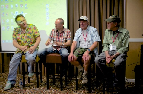 The Newsfield gang - Gary Penn, Steve Jarratt, Roger Kean and Oli Frey