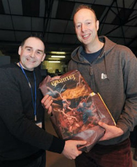 Curator Jason Fitzpatrick, left, with Simon Galbraith of Redgate Software (pic: Centre for Computing History)