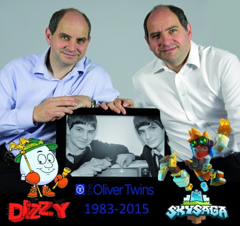 Philip and Andrew Oliver with games old and new, Dizzy and SkySaga (Pic: The Oliver Twins/Radiant Worlds)