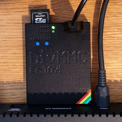 DivMMC EnJOY! in operation on the ZX Spectrum +3