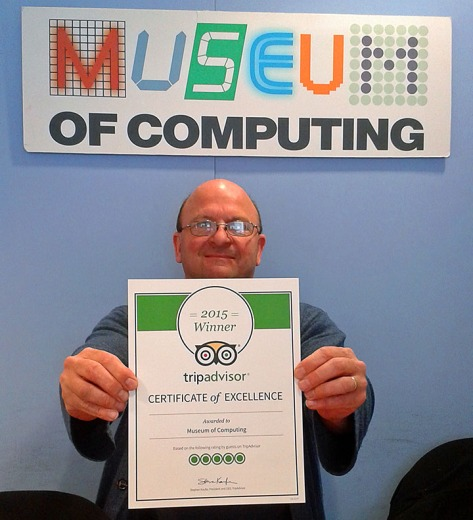 Curator Simon Webb, of the Museum of Computing, proudly shows off their Certificate of Excellence (pic Museum of Computing)