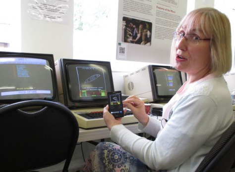Sophie Wilson, co-designer of the BBC Micro, with the Beeb emulator on her smartphone (pic TNMOC)