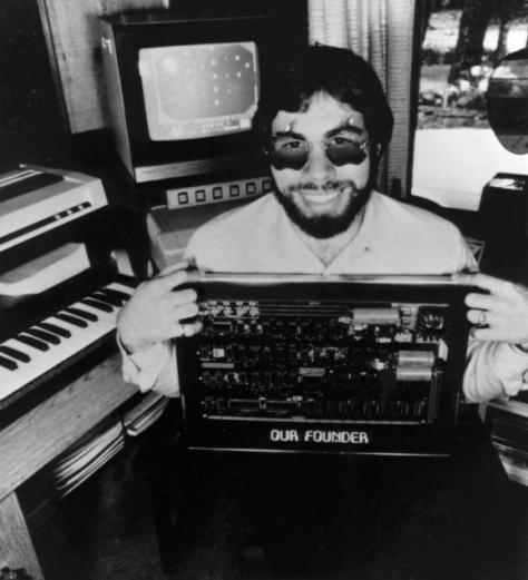 Woz with an Apple 1 Board (pic Steve Wozniak)