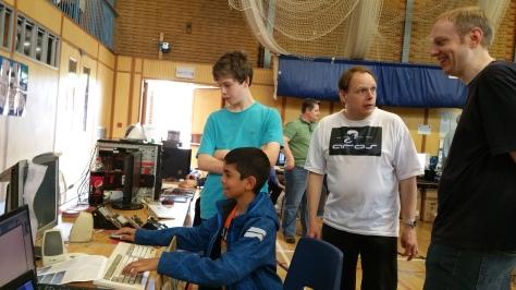 Nigel Tromans was kept busy demonstrating AROS, a modern X86-based descendant of Amiga OS