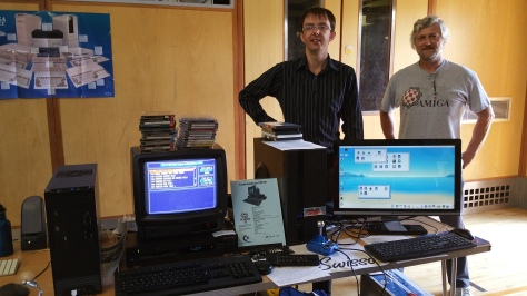 The guys from Amiga North Thames user group were exhibiting seriously high-end post-Commodore Amiga based kit, including an Amiga One X1000!