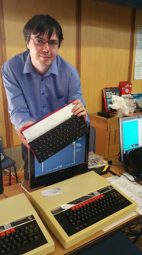 At Recursion 2015, Tom Williamson showed off his historic BBC Micro's as well as his self-built Ident computer case containing a Raspberry Pi