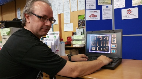 Vince Hudd, wearing his Soft Rock Software hat, demonstrating one of his Risc OS games