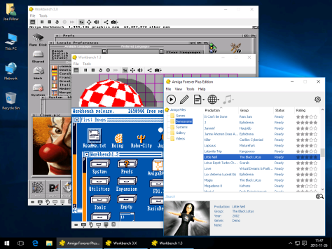 Amiga Forever Desktop View (Sample Screen with Workbench 1.3 and 3.X) - click to enlarge