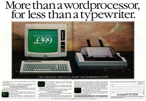 Advert for the Amstrad PCW8256 CP/M based computer
