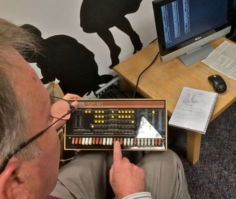 Pat Moran demonstrating the Pi-based Minicomputer