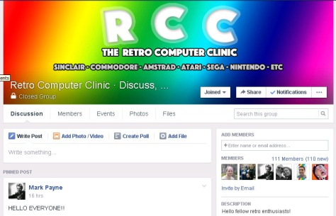 The new Retro Computer Clinic Facebook group - click to enlarge