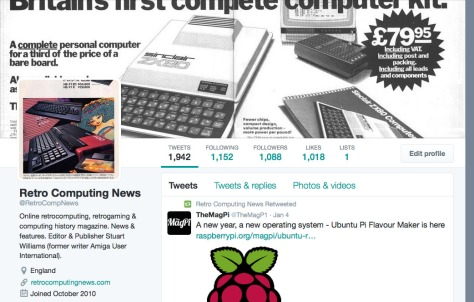 Retro Computing News' Twitter feed