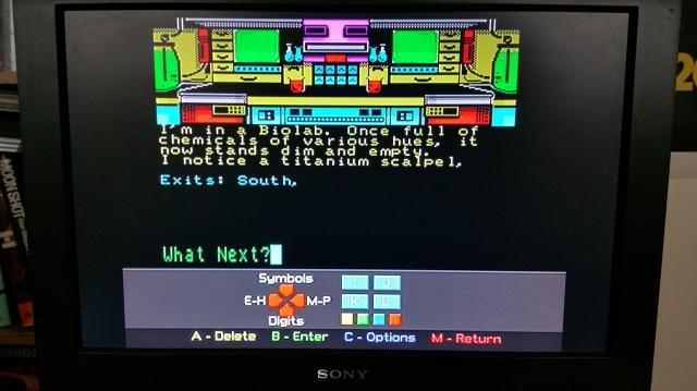 Alien Research Centre adventure game (Zenobi Software, 1990) showing the 'virtual keyboard'