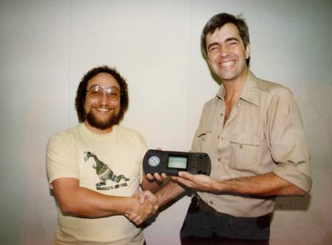 Dave Needle (left) and R.J. Mical with the Atari Lynx c.1989 (pic courtesy R.J. Mical)