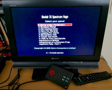 Vega game selection menu (to the naked eye this looks much better)
