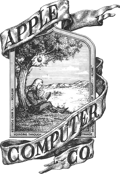 Apple's first logo, drawn by Ronald Wayne, features Sir Isaac Newton and the apple tree