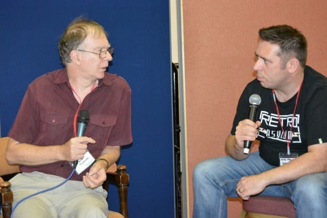 Steve Turner (left), founder of Graftgold, being interviewed by Dean Swain