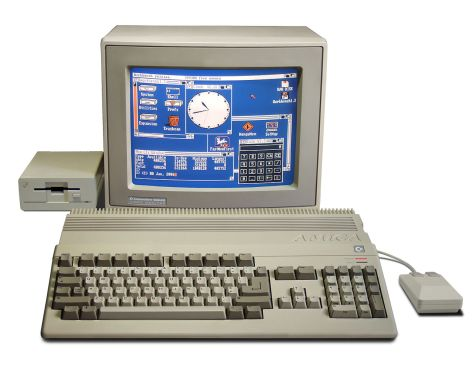Amiga 500 computer system, with 1084S RGB monitor and second A1010 floppy disk drive. [Pic by Bill Bertram]
