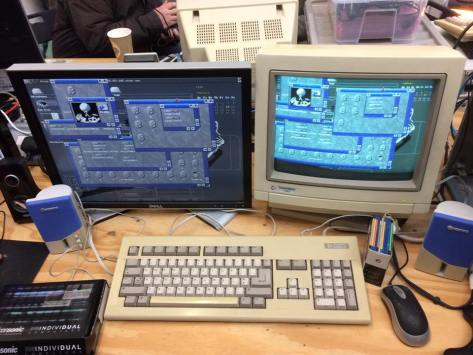 Dual screen Amiga 1200. Indivision output on the left. Standard RGB output from the Amiga monitor port on the right. [Pic Robert Hazelby]