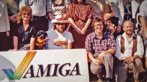 The late, great, much-missed Amiga engineer Dave Needle (in the hat), to whom the film is dedicated, with part of the Amiga team.