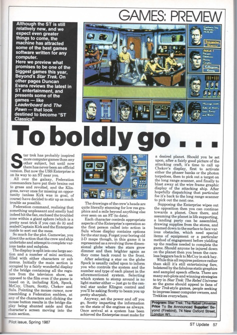 Star Trek game preview from ST Update Pilot Issue Spring (March) 1987. Click to enlarge.