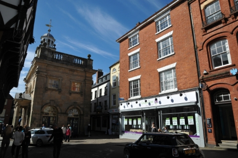 1-2 King Street, Ludlow (right), the one-time home of Newsfield, adjacent to The Buttercross
