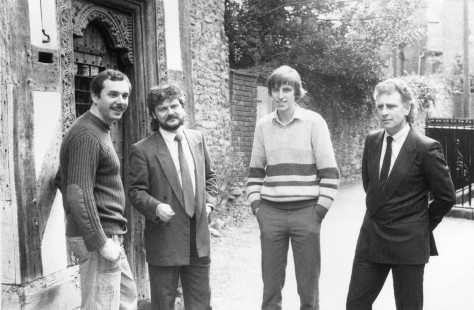 Gargoyle Games team members mix with Newsfield staffers outside 'The Reader's House' close to Newsfield's offices, 1985. L to R: Roger Kean, Greg Follis (Gargoyle), Matthew Uffindell, Roy Carter (Gargoyle)