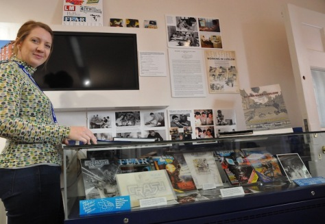 Ludlow Museum assistant Helen Jones views the Newsfield exhibit