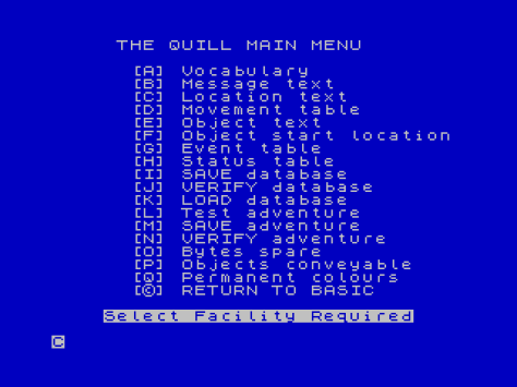 The Quill main menu