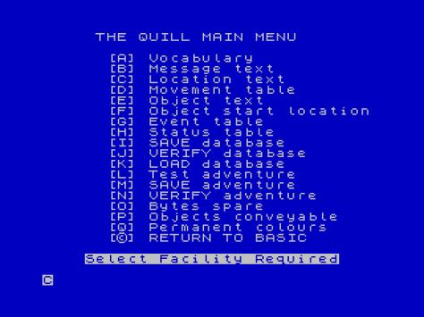 The Quill main menu